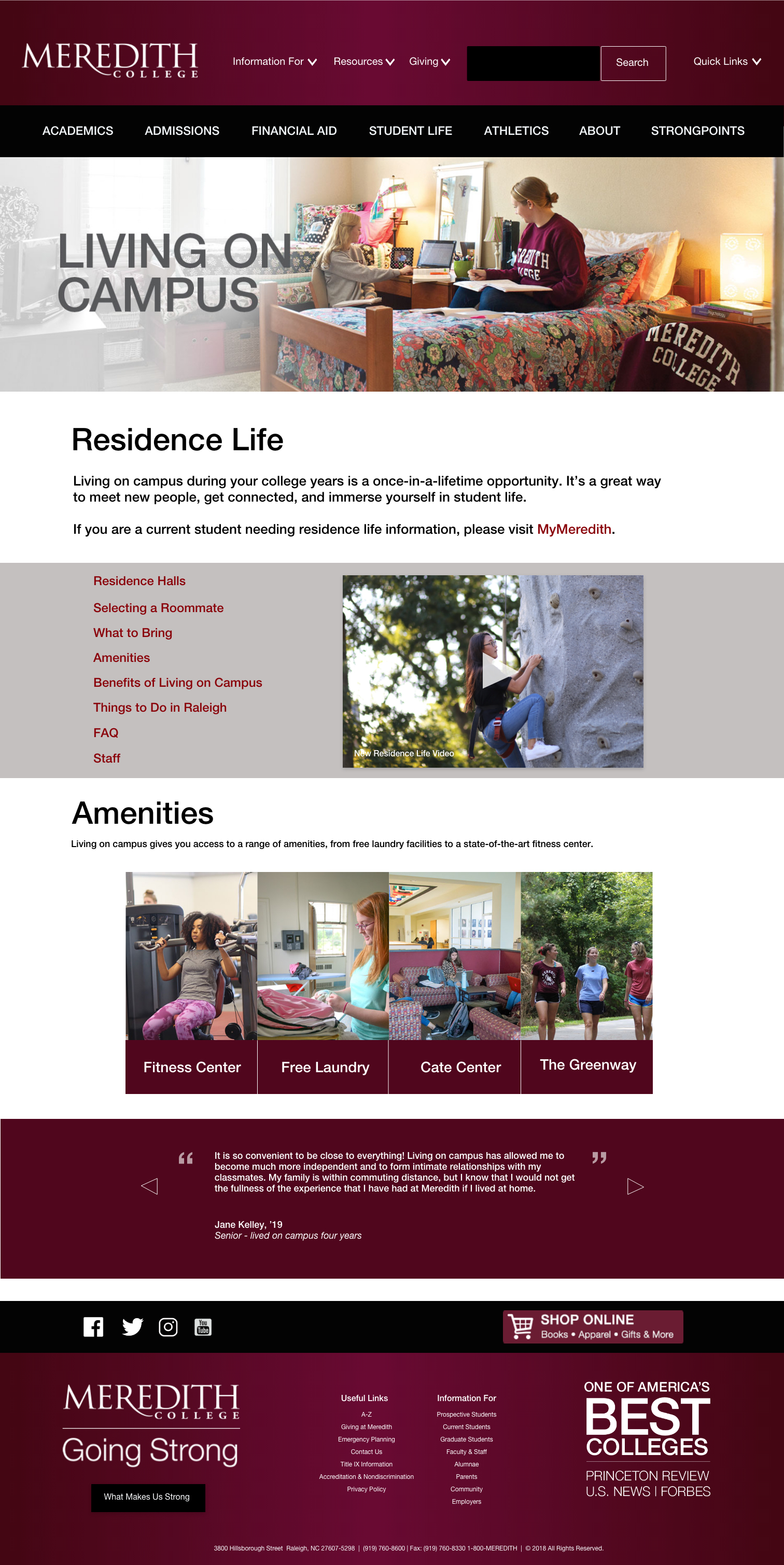 The Residence Life landing page after the redesign