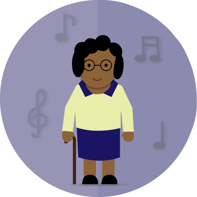 an older woman with a cane