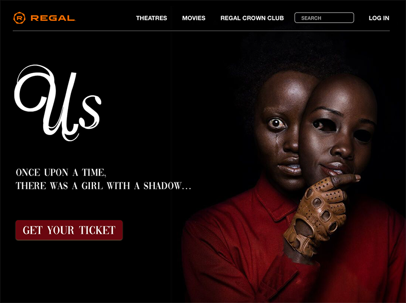 A landing page for Regal Cinema